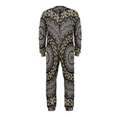 Celestial Pinwheel Of Pattern Texture And Abstract Shapes N Brown Onepiece Jumpsuit (kids)