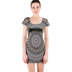 Celestial Pinwheel Of Pattern Texture And Abstract Shapes N Brown Short Sleeve Bodycon Dress