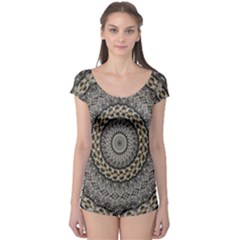 Celestial Pinwheel Of Pattern Texture And Abstract Shapes N Brown Boyleg Leotard
