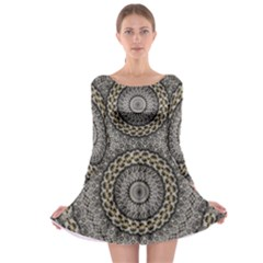 Celestial Pinwheel Of Pattern Texture And Abstract Shapes N Brown Long Sleeve Skater Dress
