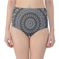 Celestial Pinwheel Of Pattern Texture And Abstract Shapes N Brown High-Waist Bikini Bottoms