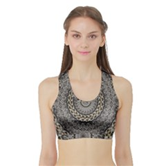 Celestial Pinwheel Of Pattern Texture And Abstract Shapes N Brown Sports Bra with Border