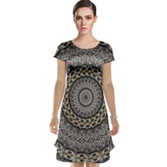 Celestial Pinwheel Of Pattern Texture And Abstract Shapes N Brown Cap Sleeve Nightdress