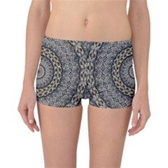 Celestial Pinwheel Of Pattern Texture And Abstract Shapes N Brown Reversible Bikini Bottoms