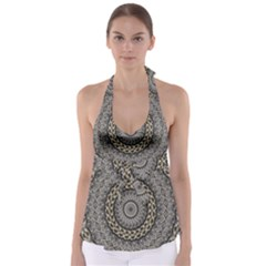 Celestial Pinwheel Of Pattern Texture And Abstract Shapes N Brown Babydoll Tankini Top