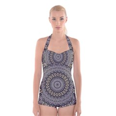 Celestial Pinwheel Of Pattern Texture And Abstract Shapes N Brown Boyleg Halter Swimsuit