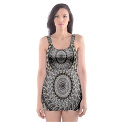 Celestial Pinwheel Of Pattern Texture And Abstract Shapes N Brown Skater Dress Swimsuit