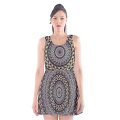 Celestial Pinwheel Of Pattern Texture And Abstract Shapes N Brown Scoop Neck Skater Dress