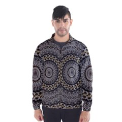 Celestial Pinwheel Of Pattern Texture And Abstract Shapes N Brown Wind Breaker (Men)