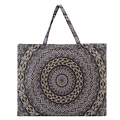 Celestial Pinwheel Of Pattern Texture And Abstract Shapes N Brown Zipper Large Tote Bag