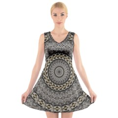 Celestial Pinwheel Of Pattern Texture And Abstract Shapes N Brown V Neck Sleeveless Skater Dress