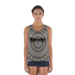 Celestial Pinwheel Of Pattern Texture And Abstract Shapes N Brown Women s Sport Tank Top