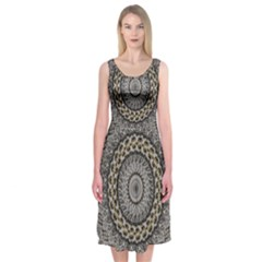 Celestial Pinwheel Of Pattern Texture And Abstract Shapes N Brown Midi Sleeveless Dress