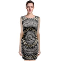Celestial Pinwheel Of Pattern Texture And Abstract Shapes N Brown Classic Sleeveless Midi Dress