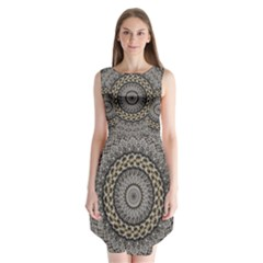 Celestial Pinwheel Of Pattern Texture And Abstract Shapes N Brown Sleeveless Chiffon Dress