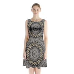 Celestial Pinwheel Of Pattern Texture And Abstract Shapes N Brown Sleeveless Chiffon Waist Tie Dress