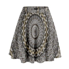Celestial Pinwheel Of Pattern Texture And Abstract Shapes N Brown High Waist Skirt