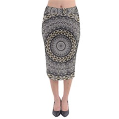 Celestial Pinwheel Of Pattern Texture And Abstract Shapes N Brown Midi Pencil Skirt