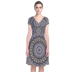 Celestial Pinwheel Of Pattern Texture And Abstract Shapes N Brown Short Sleeve Front Wrap Dress
