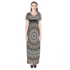 Celestial Pinwheel Of Pattern Texture And Abstract Shapes N Brown Short Sleeve Maxi Dress