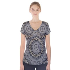 Celestial Pinwheel Of Pattern Texture And Abstract Shapes N Brown Short Sleeve Front Detail Top