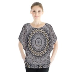 Celestial Pinwheel Of Pattern Texture And Abstract Shapes N Brown Blouse
