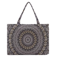 Celestial Pinwheel Of Pattern Texture And Abstract Shapes N Brown Medium Zipper Tote Bag