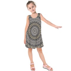 Celestial Pinwheel Of Pattern Texture And Abstract Shapes N Brown Kids  Sleeveless Dress