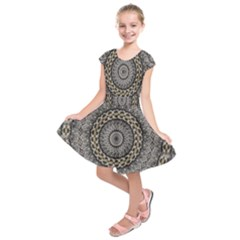 Celestial Pinwheel Of Pattern Texture And Abstract Shapes N Brown Kids  Short Sleeve Dress