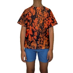 Abstract Orange Background Kids  Short Sleeve Swimwear