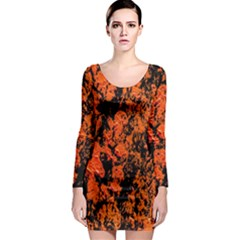 Abstract Orange Background Long Sleeve Bodycon Dress