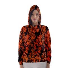 Abstract Orange Background Hooded Wind Breaker (Women)