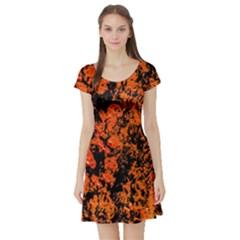 Abstract Orange Background Short Sleeve Skater Dress