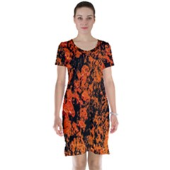 Abstract Orange Background Short Sleeve Nightdress