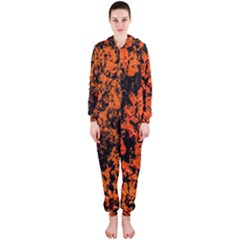 Abstract Orange Background Hooded Jumpsuit (ladies)