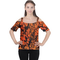 Abstract Orange Background Women s Cutout Shoulder Tee