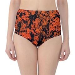Abstract Orange Background High-Waist Bikini Bottoms