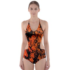 Abstract Orange Background Cut Out One Piece Swimsuit