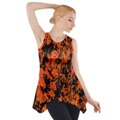 Abstract Orange Background Side Drop Tank Tunic