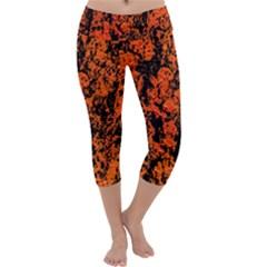 Abstract Orange Background Capri Yoga Leggings