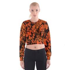 Abstract Orange Background Women s Cropped Sweatshirt