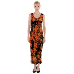 Abstract Orange Background Fitted Maxi Dress