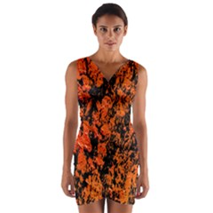 Abstract Orange Background Wrap Front Bodycon Dress