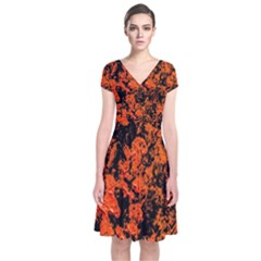 Abstract Orange Background Short Sleeve Front Wrap Dress