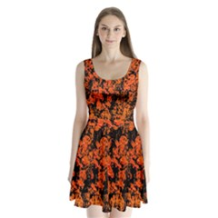 Abstract Orange Background Split Back Mini Dress