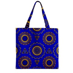 Abstract Mandala Seamless Pattern Zipper Grocery Tote Bag