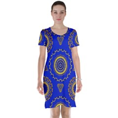Abstract Mandala Seamless Pattern Short Sleeve Nightdress