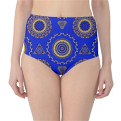 Abstract Mandala Seamless Pattern High-Waist Bikini Bottoms