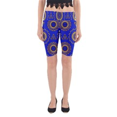 Abstract Mandala Seamless Pattern Yoga Cropped Leggings