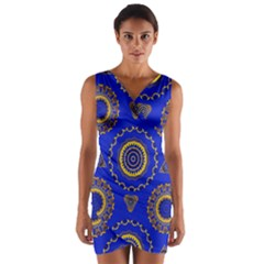 Abstract Mandala Seamless Pattern Wrap Front Bodycon Dress